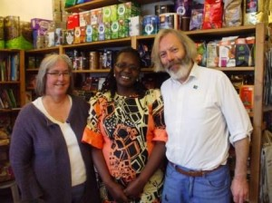 Traidcraft's Mama Fairtrade visits the Fairer World shop in Gillygate.