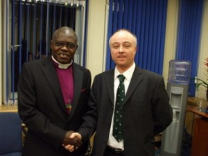 The Archbishop of York with Mark, Chair of York Fair Trade Forum