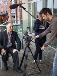 Our Chair, Mark, is filmed by students from York St. John University