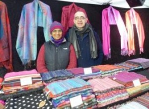 Sheela & Chris of York Scarves at the York Fair Trade Market.