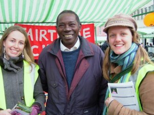 Sophie, Sam Magona and Sian at the York Fair Trade Festival